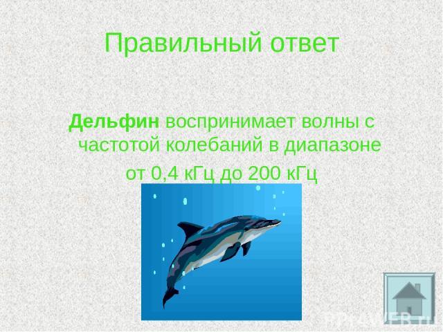 Правильный ответ Дельфин воспринимает волны с частотой колебаний в диапазоне от 0,4 кГц до 200 кГц