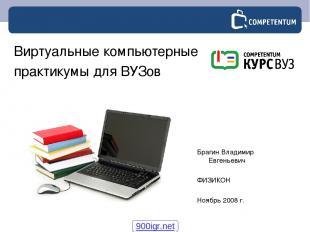Брагин Владимир Евгеньевич ФИЗИКОН Ноябрь 2008 г. Виртуальные компьютерные практ