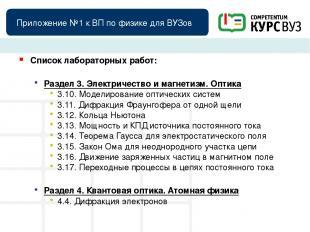 Приложение №1 к ВП по физике для ВУЗов Список лабораторных работ: Раздел 3. Элек