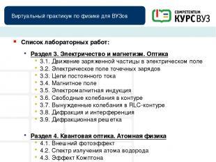 Виртуальный практикум по физике для ВУЗов Список лабораторных работ: Раздел 3. Э