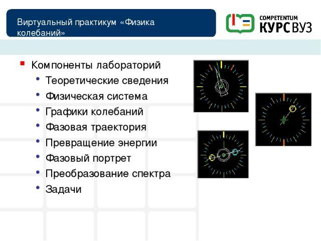 Виртуальный практикум «Физика колебаний» Компоненты лабораторий Теоретические сведения Физическая система Графики колебаний Фазовая траектория Превращение энергии Фазовый портрет Преобразование спектра Задачи