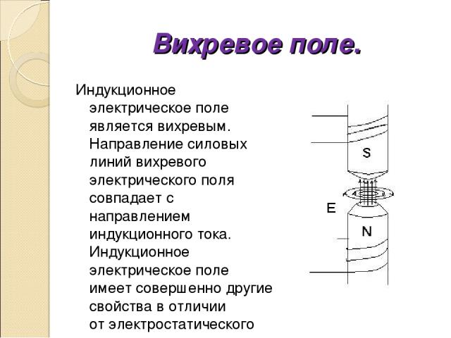 Вихревое поле. Индукционное электрическое поле является вихревым. Направление силовых линий вихревого электрического поля совпадает с направлением индукционного тока. Индукционное электрическое поле имеет совершенно другие свойства в отличии от элек…