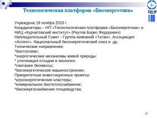 * Технологическая платформа «Биоэнергетика» Учреждена 19 ноября 2010 г. Координа