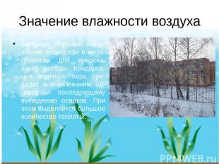 Значение влажности воздуха Большое значение имеет знание влажности в мете-оролог