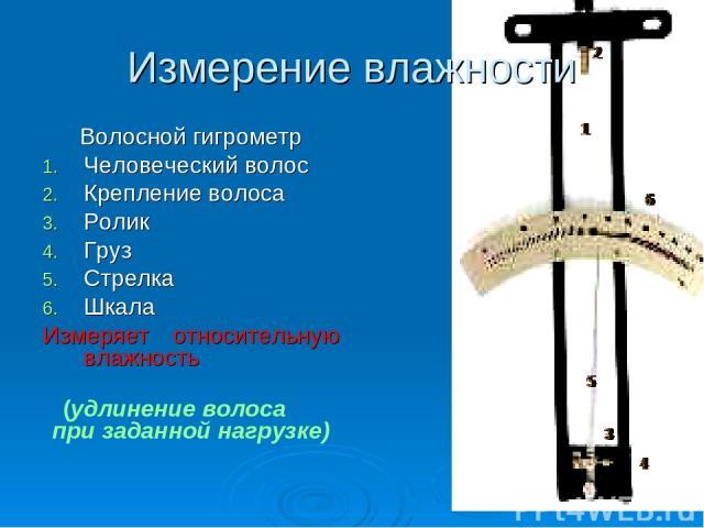 Измерение влажности Волосной гигрометр Человеческий волос Крепление волоса Ролик Груз Стрелка Шкала Измеряет относительную влажность (удлинение волоса при заданной нагрузке)