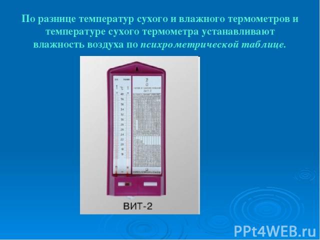 По разнице температур сухого и влажного термометров и температуре сухого термометра устанавливают влажность воздуха по психрометрической таблице.