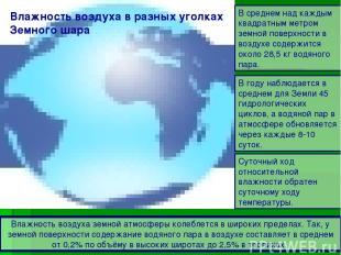 Влажность воздуха в разных уголках Земного шара Влажность воздуха земной атмосфе
