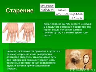 Старение Недостаток влажности приводит к сухости и раннему старению кожи, раздра