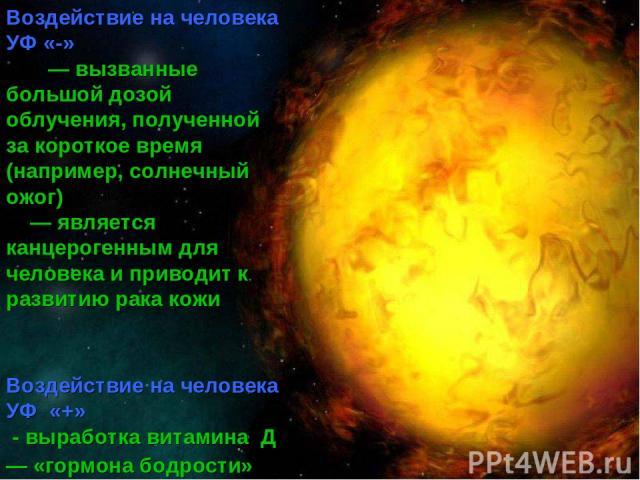 «-» Воздействие на человека УФ «-» — вызванные большой дозой облучения, полученной за короткое время (например, солнечный ожог) — является канцерогенным для человека и приводит к развитию рака кожи Воздействие на человека УФ «+» - выработка витамина…