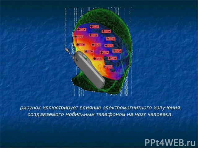 рисунок иллюстрирует влияние электромагнитного излучения, создаваемого мобильным телефоном на мозг человека.