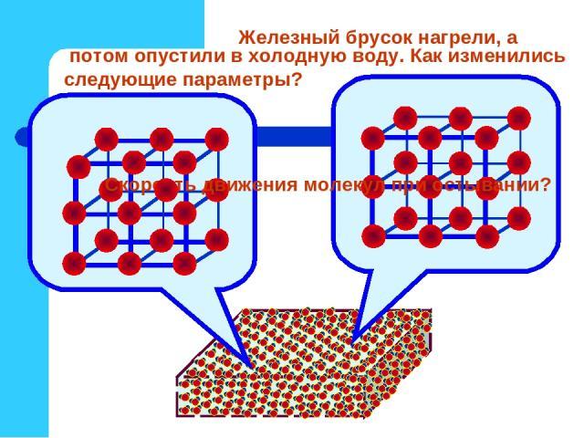 Железный брусок нагрели, а потом опустили в холодную воду. Как изменились следующие параметры? Скорость движения молекул при остывании?