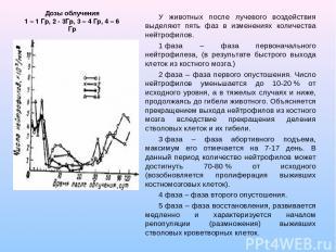 Дозы облучения 1 – 1 Гр, 2 - 3Гр, 3 – 4 Гр, 4 – 6 Гр У животных после лучевого в