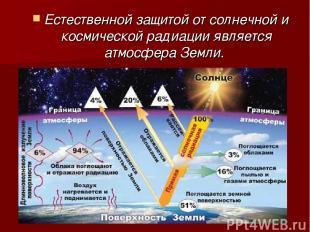 Естественной защитой от солнечной и космической радиации является атмосфера Земл
