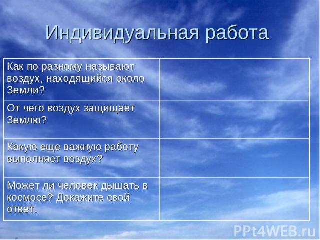 Индивидуальная работа Как по разному называют воздух, находящийся около Земли? От чего воздух защищает Землю? Какую еще важную работу выполняет воздух? Может ли человек дышать в космосе? Докажите свой ответ.