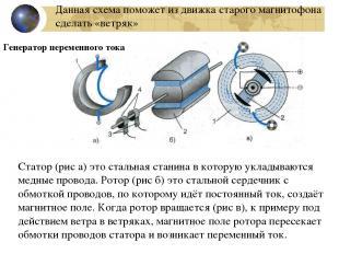 Генератор переменного тока Статор (рис а) это стальная станина в которую укладыв