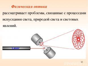 Физическая оптика рассматривает проблемы, связанные с процессами испускания свет