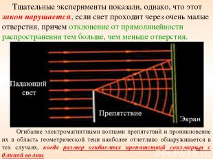 * Огибание электромагнитными волнами препятствий и проникновение их в область ге