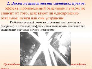 2. Закон независимости световых пучков: эффект, производимый отдельным пучком, н
