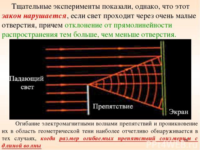 * Огибание электромагнитными волнами препятствий и проникновение их в область геометрической тени наиболее отчетливо обнаруживается в тех случаях, когда размер огибаемых препятствий соизмерим с длиной волны Тщательные эксперименты показали, однако, …