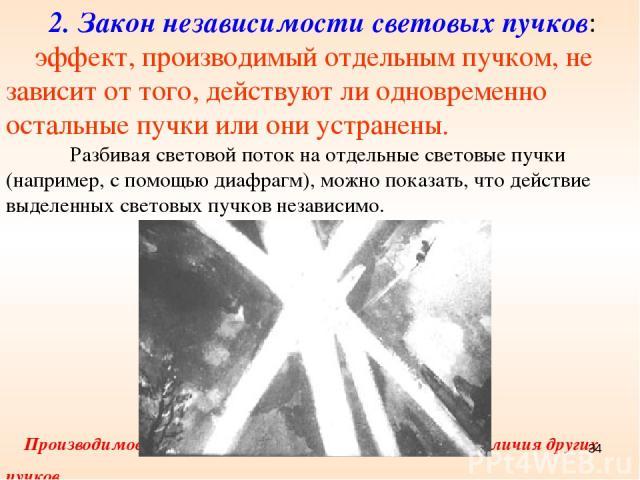 2. Закон независимости световых пучков: эффект, производимый отдельным пучком, не зависит от того, действуют ли одновременно остальные пучки или они устранены. Разбивая световой поток на отдельные световые пучки (например, с помощью диафрагм), можно…