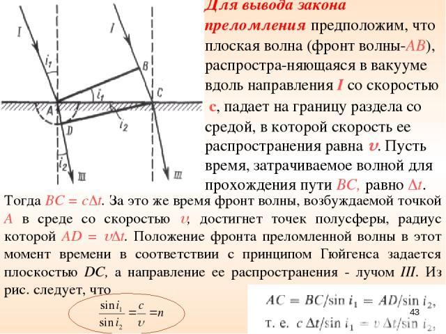 Тогда ВС = с t. За это же время фронт волны, возбуждаемой точкой А в среде со скоростью , достигнет точек полусферы, радиус которой AD = t. Положение фронта преломленной волны в этот момент времени в соответствии с принципом Гюйгенса задается плоско…