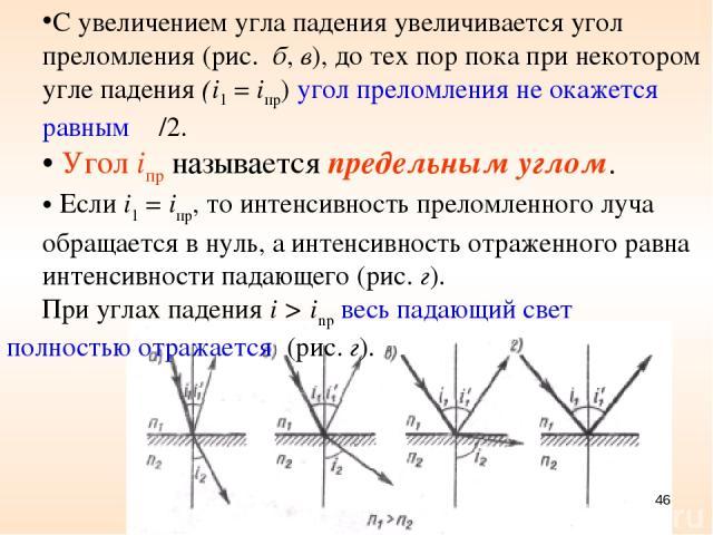 С увеличением угла падения увеличивается угол преломления (рис. б, в), до тех пор пока при некотором угле падения (i1 = iпр) угол преломления не окажется равным π/2. Угол iпр называется предельным углом. Если i1 = iпр, то интенсивность преломленного…