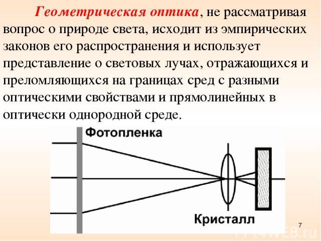 Геометрическая оптика, не рассматривая вопрос о природе света, исходит из эмпирических законов его распространения и использует представление о световых лучах, отражающихся и преломляющихся на границах сред с разными оптическими свойствами и прямоли…