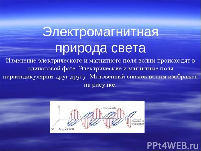 Электромагнитная природа света Изменение электрического и магнитного поля волны происходят в одинаковой фазе. Электрические и магнитные поля перпендикулярны друг другу. Мгновенный снимок волны изображен на рисунке. …
