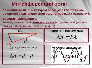 Интерференция волн - сложение волн, при котором образуется постоянное во времени