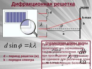Дифракционная решетка k-max d b a экран Определение длины волны d – период решет