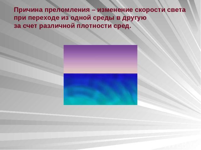 Причина преломления – изменение скорости света при переходе из одной среды в другую за счет различной плотности сред.