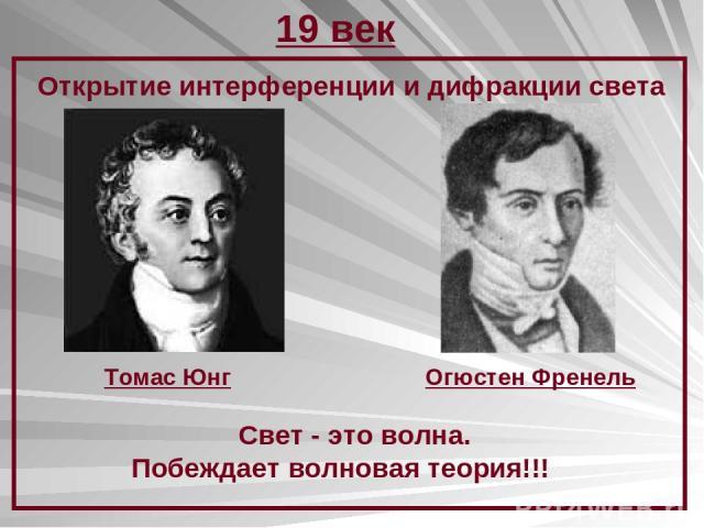 19 век Открытие интерференции и дифракции света Томас Юнг Огюстен Френель Свет - это волна. Побеждает волновая теория!!!