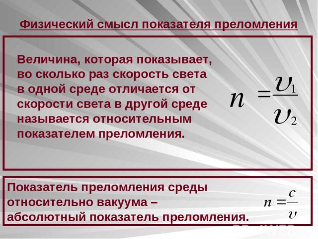 Физический смысл показателя преломления Величина, которая показывает, во сколько раз скорость света в одной среде отличается от скорости света в другой среде называется относительным показателем преломления. Показатель преломления среды относительно…