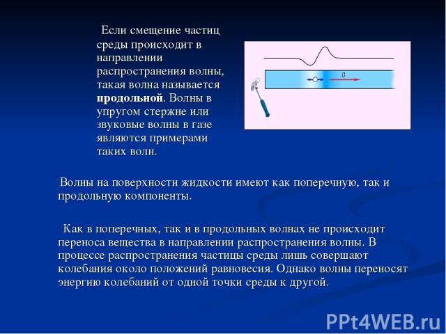 Если смещение частиц среды происходит в направлении распространения волны, такая волна называется продольной. Волны в упругом стержне или звуковые волны в газе являются примерами таких волн. Волны на поверхности жидкости имеют как поперечную, так и …