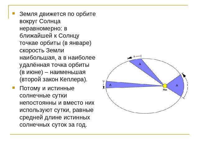 Земля движется по орбите вокруг Солнца неравномерно: в ближайшей к Солнцу точкае орбиты (в январе) скорость Земли наибольшая, а в наиболее удалённая точка орбиты (в июне) – наименьшая (второй закон Кеплера). Потому и истинные солнечные сутки непосто…