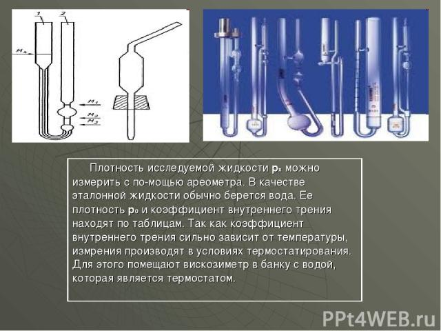 Плотность исследуемой жидкости рх можно измерить с по мощью ареометра. В качестве эталонной жидкости обычно берется вода. Ее плотность р0 и коэффициент внутреннего трения находят по таблицам. Так как коэффициент внутреннего трения сильно зависит от …