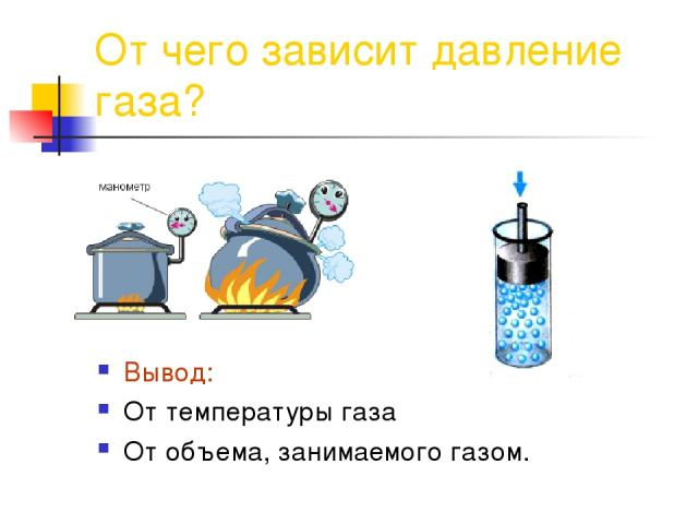 От чего зависит давление газа? Вывод: От температуры газа От объема, занимаемого газом.