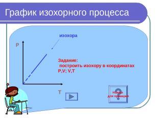 График изохорного процесса P O T изохора Задание: построить изохору в координата