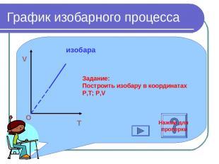 График изобарного процесса T V O изобара Задание: Построить изобару в координата