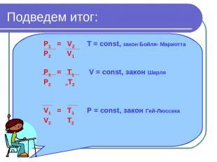 Подведем итог: P1 = V2 T = const, закон Бойля- Мариотта P2 V1 P1 = T1 V = const,