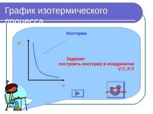 График изотермического процесса Изотерма Задание: построить изотерму в координат