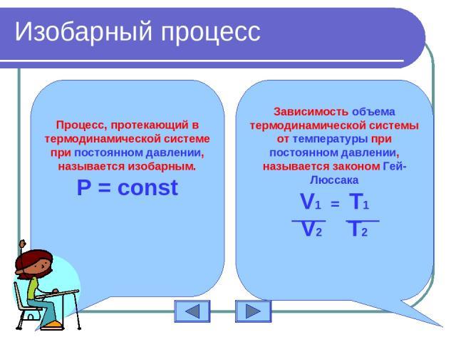 Изобарный процесс Процесс, протекающий в термодинамической системе при постоянном давлении, называется изобарным. Р = const Зависимость объема термодинамической системы от температуры при постоянном давлении, называется законом Гей-Люссака V1 = T1 V2 T2