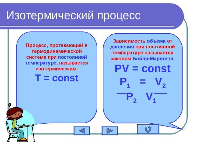 Изотермический процесс Процесс, протекающий в термодинамической системе при постоянной температуре, называется изотермическим. T = const Зависимость объема от давления при постоянной температуре называется законом Бойля-Мариотта. PV = const P1 = V2 P2 V1
