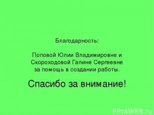 Благодарность: Поповой Юлии Владимировне и Скороходовой Галине Сергеевне за помо