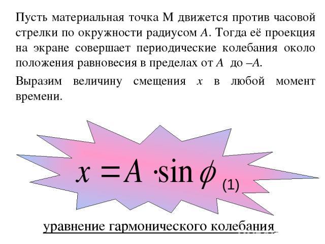 Пусть материальная точка М движется против часовой стрелки по окружности радиусом А. Тогда её проекция на экране совершает периодические колебания около положения равновесия в пределах от А до –А. Выразим величину смещения x в любой момент времени. …