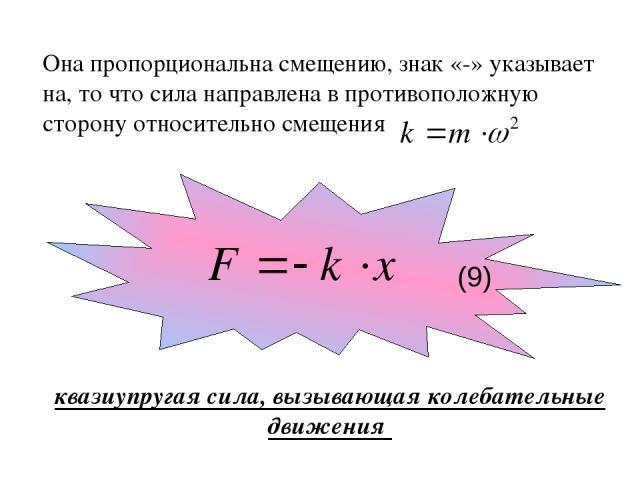 Она пропорциональна смещению, знак «-» указывает на, то что сила направлена в противоположную сторону относительно смещения квазиупругая сила, вызывающая колебательные движения (9)