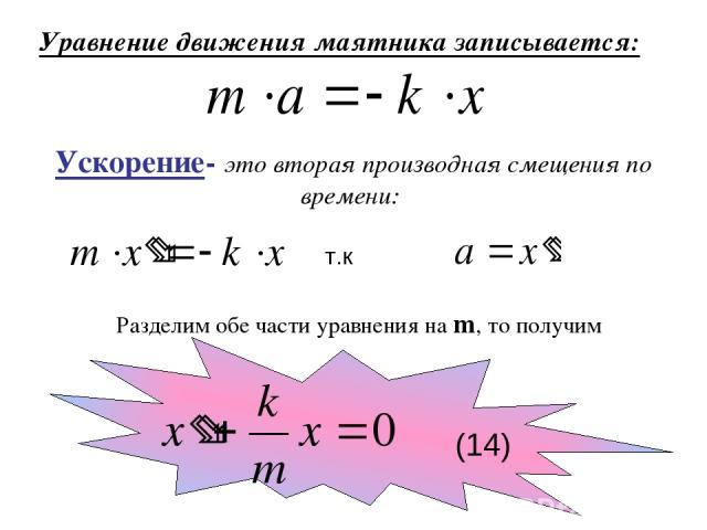 Уравнение движения маятника записывается: Ускорение- это вторая производная смещения по времени: т.к Разделим обе части уравнения на m, то получим (14)