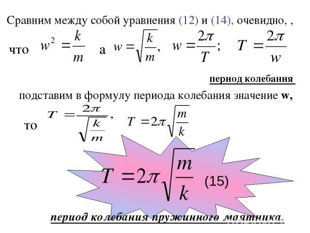Сравним между собой уравнения (12) и (14), очевидно, , а период колебания подставим в формулу периода колебания значение w, что то (15) период колебания пружинного маятника.