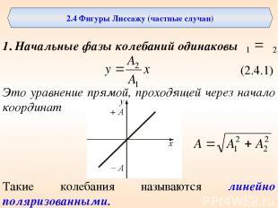 2.4 Фигуры Лиссажу (частные случаи) 1. Начальные фазы колебаний одинаковы (2.4.1