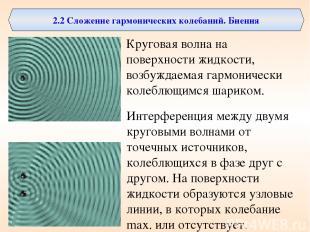 2.2 Сложение гармонических колебаний. Биения Круговая волна на поверхности жидко